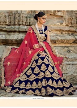 Royal Navy Blue Patch Border Work Art Silk A Line Lehenga Choli