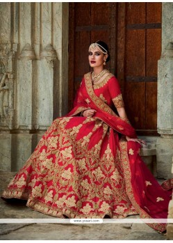 Catchy Red Patch Border Work Art Silk A Line Lehenga Choli