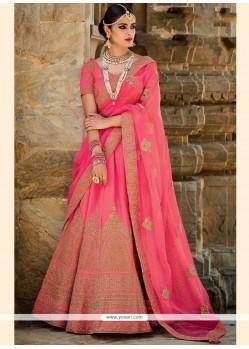 Radiant Art Silk Rose Pink A Line Lehenga Choli
