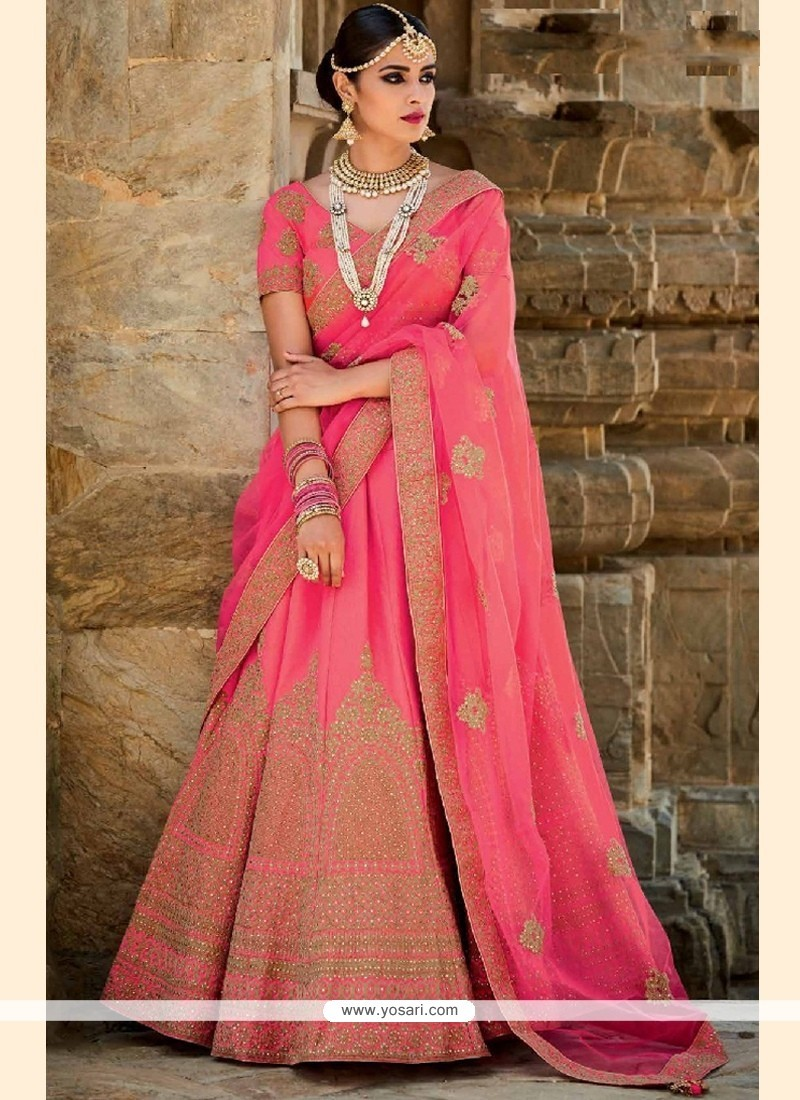 Radiant Art Silk Rose Pink A Line Lehenga Choli
