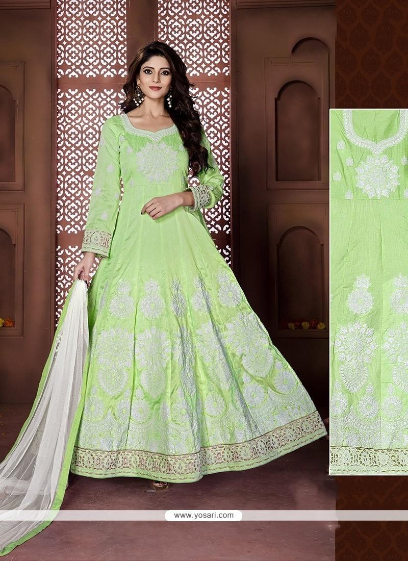 Versatile Green Resham Work Banglori Silk Anarkali Salwar Kameez