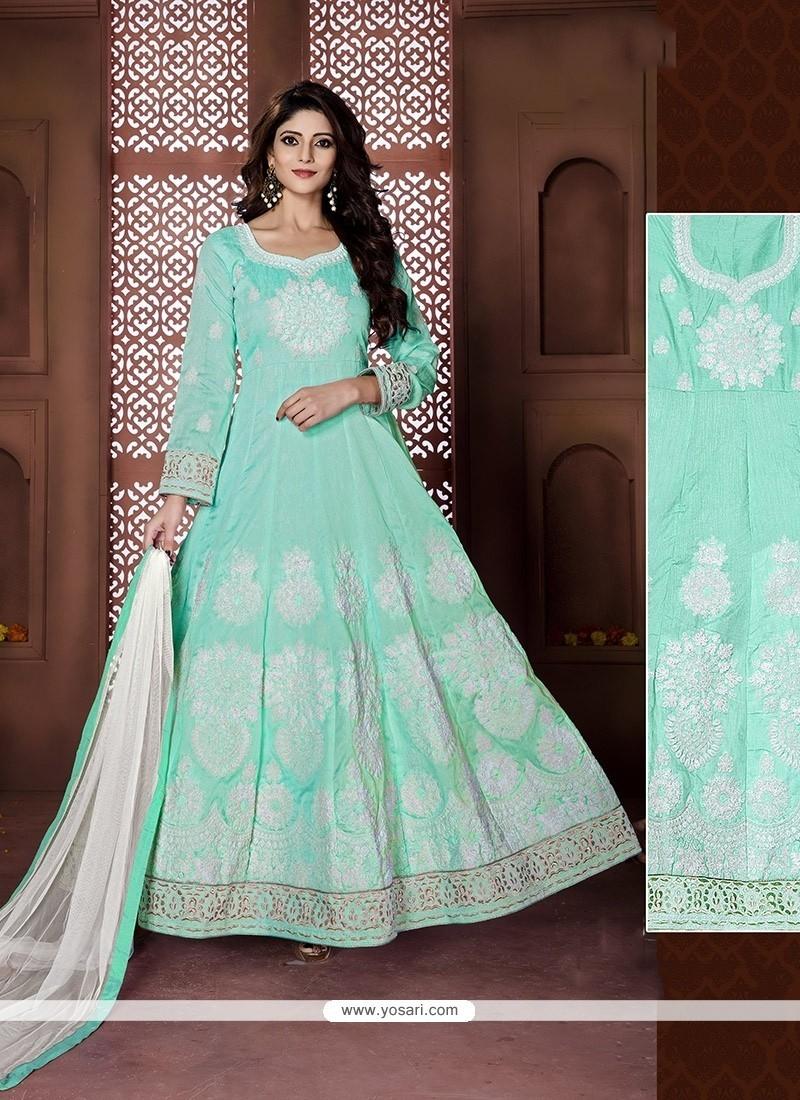 Captivating Banglori Silk Turquoise Resham Work Anarkali Salwar Kameez