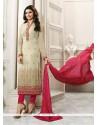 Prachi Desai Beige And Hot Pink Churidar Designer Suit