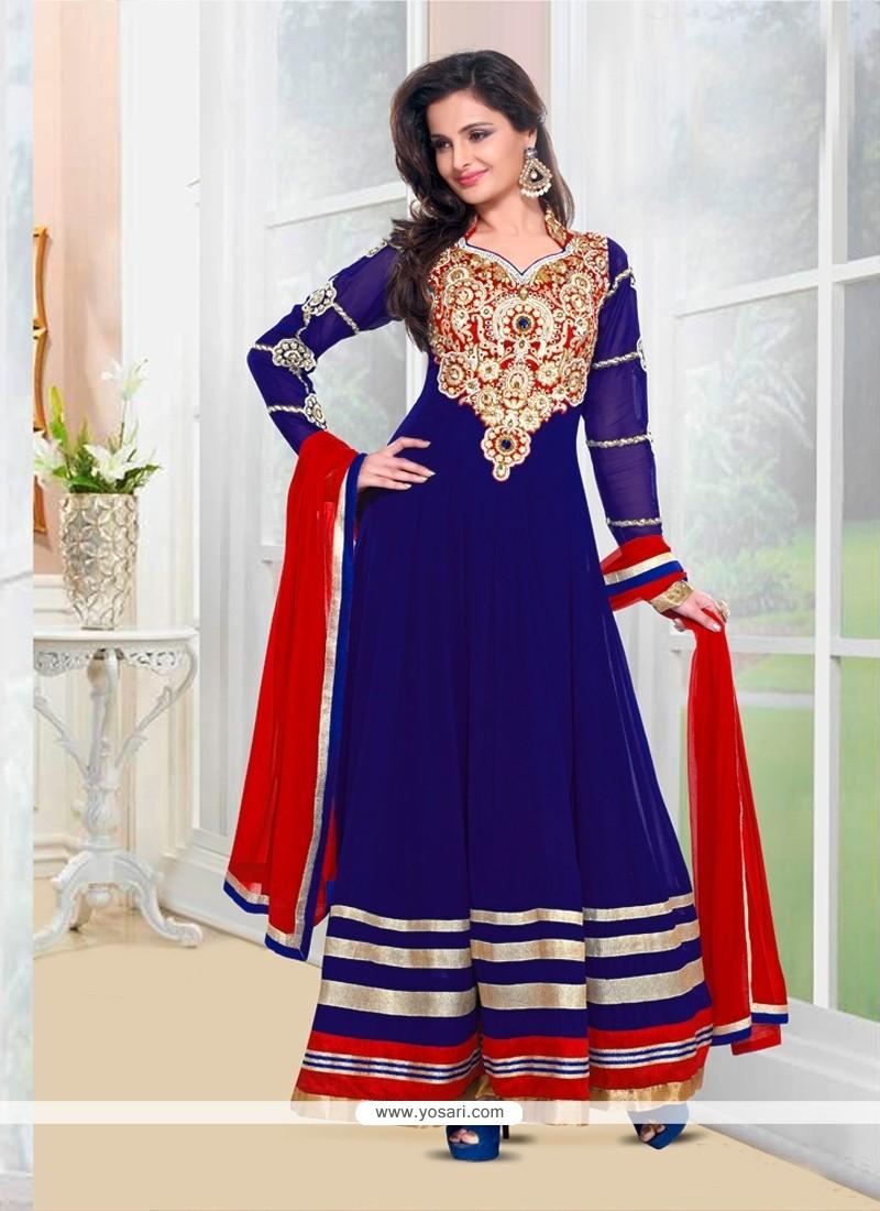 Monica Bedi Blue Georgette Anarkali Suit