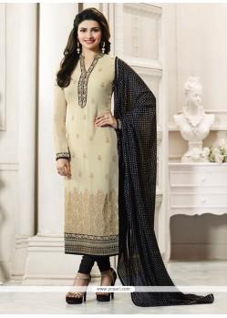 Prachi Desai Beige And Black Churidar Designer Suit