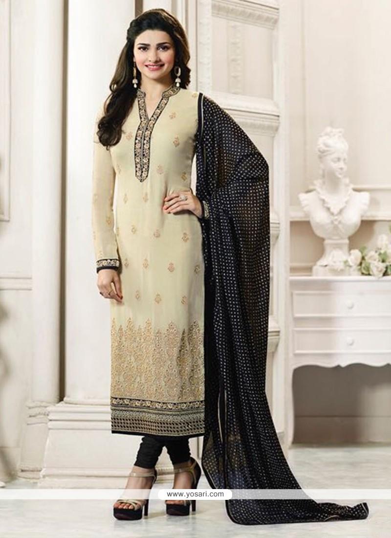 8b44152b3e Buy Prachi Desai Beige And Black Churidar Designer Suit | Churidar ...
