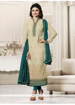 Prachi Desai Beige And Green Churidar Designer Suit