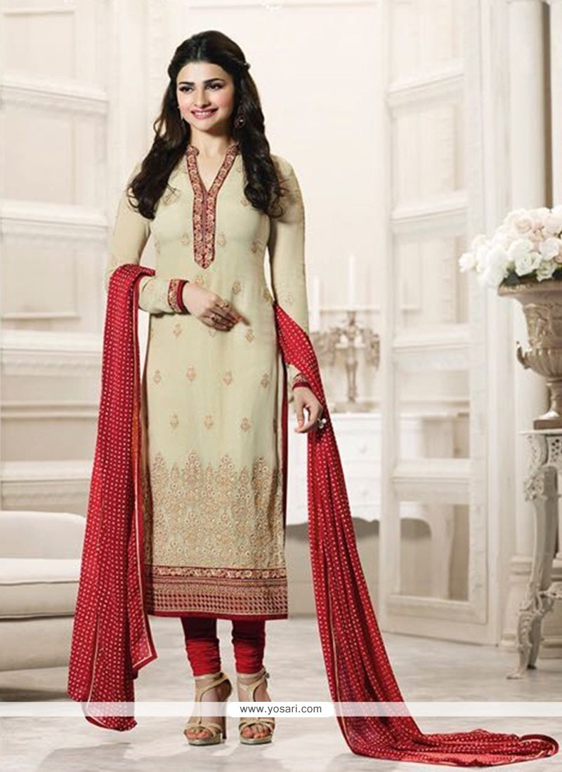 Prachi Desai Embroidered Work Churidar Designer Suit