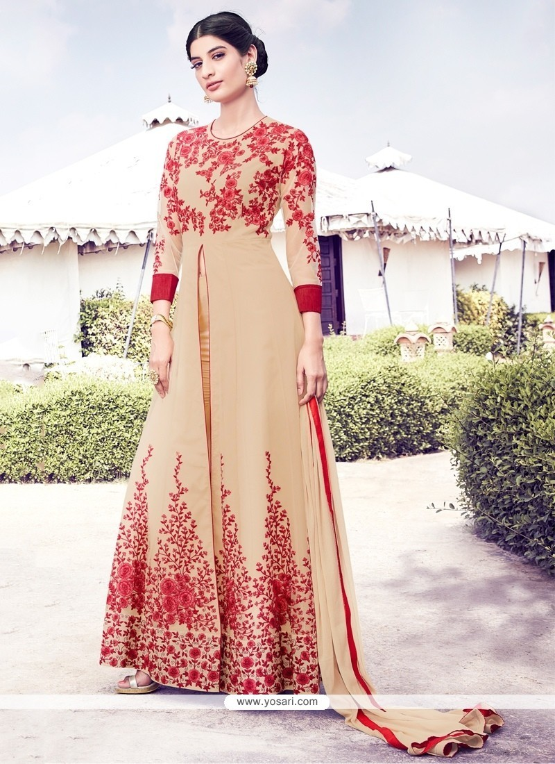 Desirable Beige Resham Work Anarkali Salwar Kameez