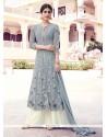 Piquant Georgette Grey Resham Work Designer Palazzo Salwar Kameez