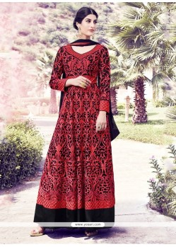 Radiant Black And Red Georgette Anarkali Salwar Kameez
