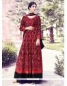 Radiant Black And Red Georgette Anarkali Salwar Kameez