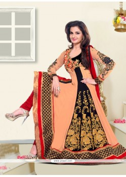 Monica Bedi Peach Georgette Anarkali Suit