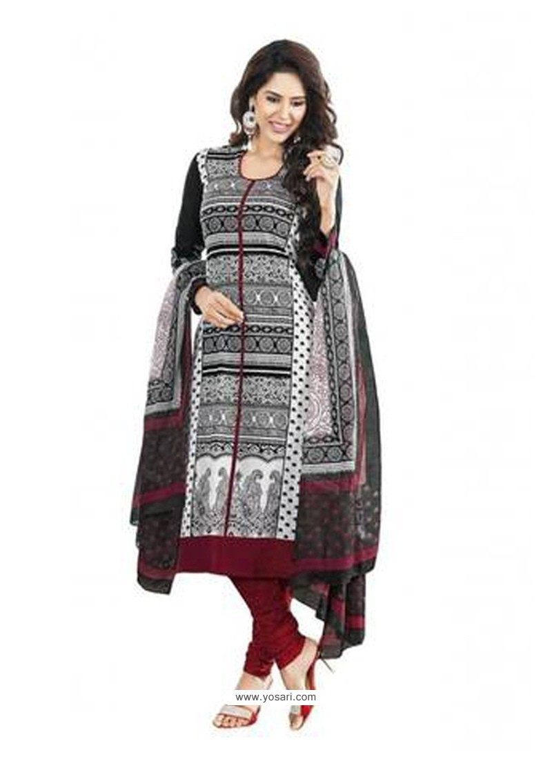Mesmeric Cotton Print Work Churidar Designer Suit