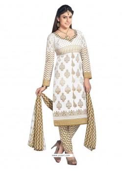 Opulent Cotton Cream Lace Work Churidar Designer Suit