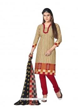 Versatile Cotton Beige Churidar Designer Suit