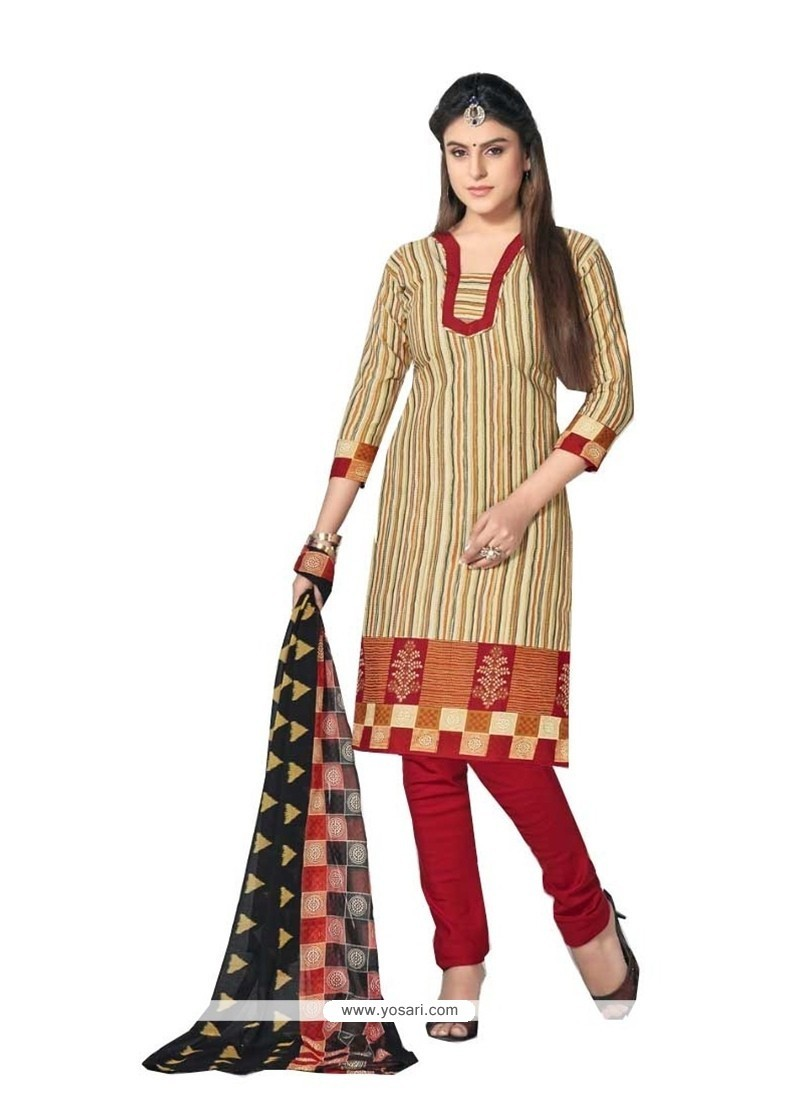 Versatile Cotton Beige Churidar Designer Suit