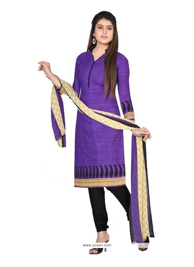 Gorgonize Purple Cotton Churidar Designer Suit