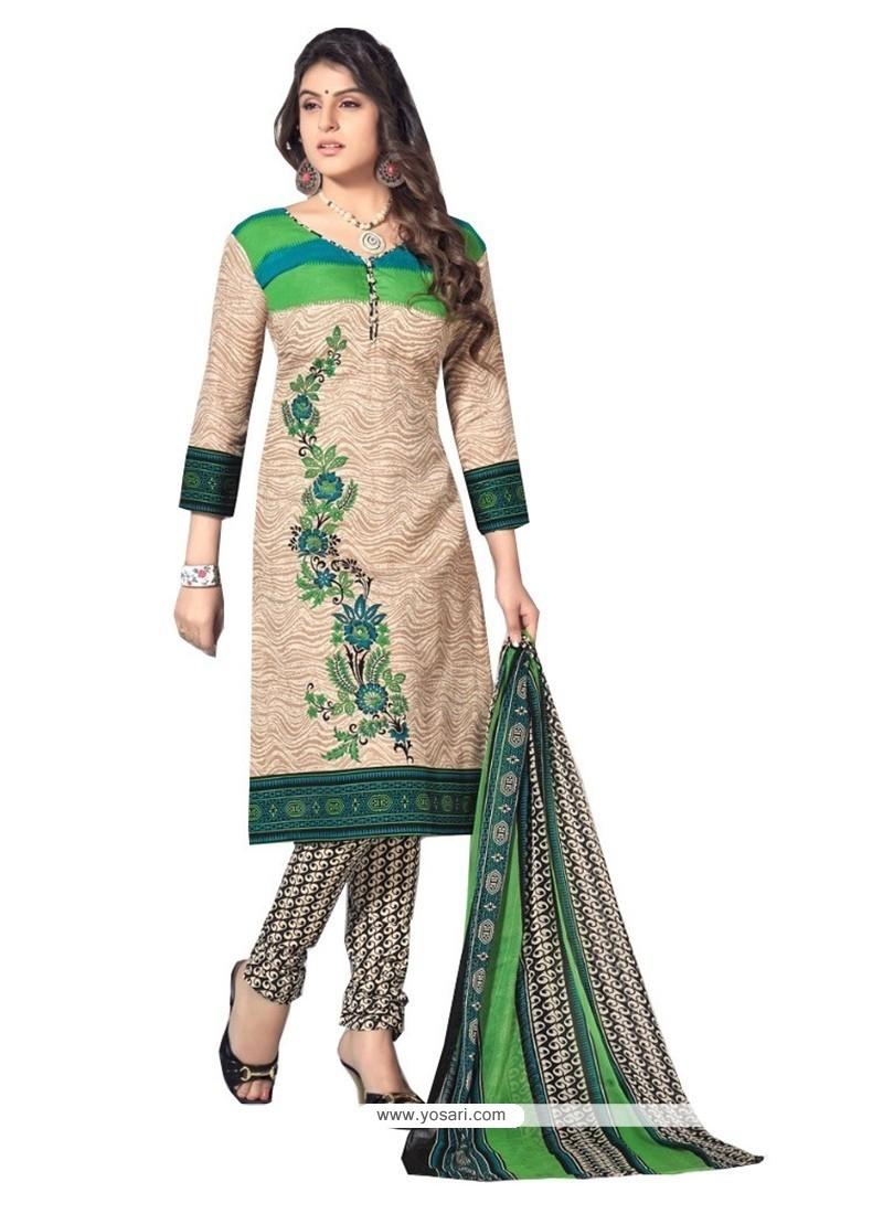Scintillating Beige Resham Work Cotton Churidar Designer Suit