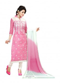 Resham Chanderi Churidar Designer Suit In Pink