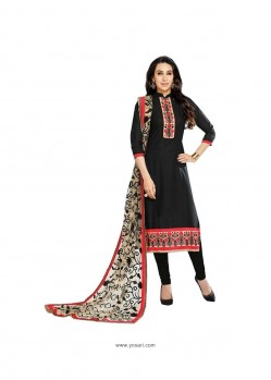 Gorgonize Black Embroidered Work Cotton Churidar Designer Suit