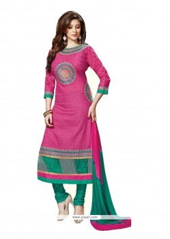 Remarkable Embroidered Work Hot Pink Cotton Churidar Designer Suit