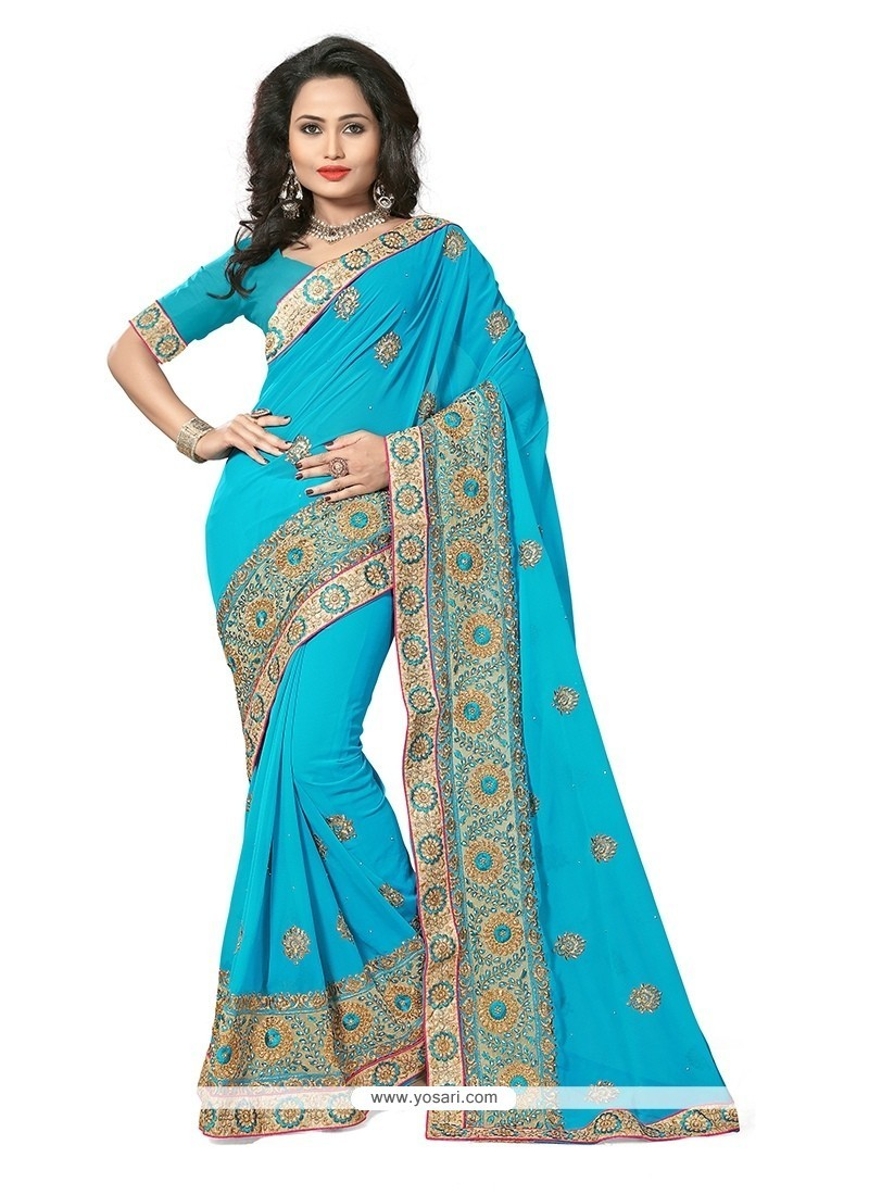 Energetic Turquoise Traditional Saree