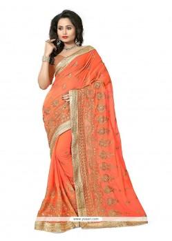 Customary Orange Traditional Saree