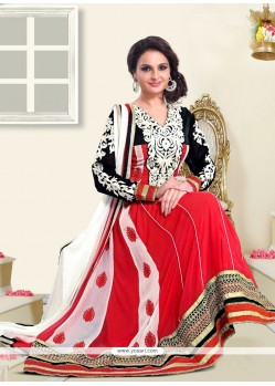 Monica Bedi Red Embroidery Anarkali Suit