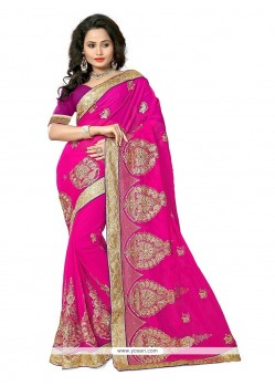 Praiseworthy Hot Pink Traditional Saree