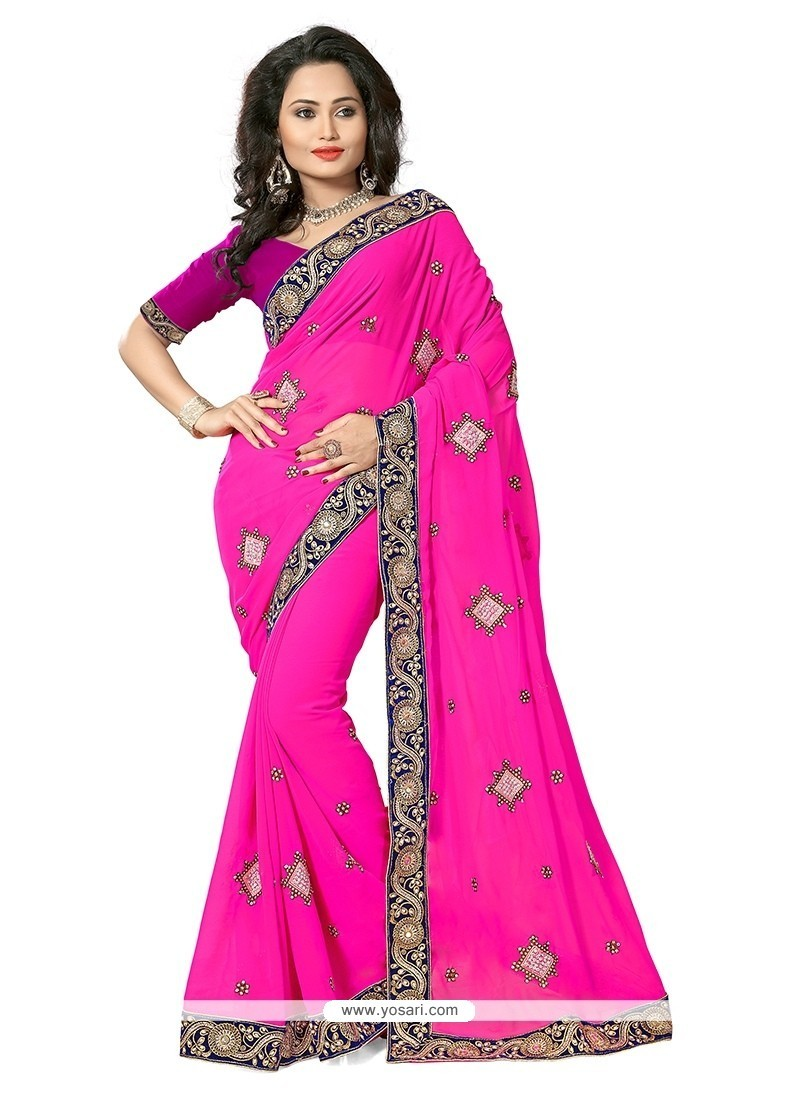 Classy Patch Border Work Hot Pink Georgette Trendy Saree