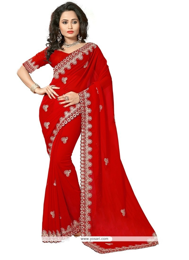 Simplistic Red Patch Border Work Georgette Classic Saree