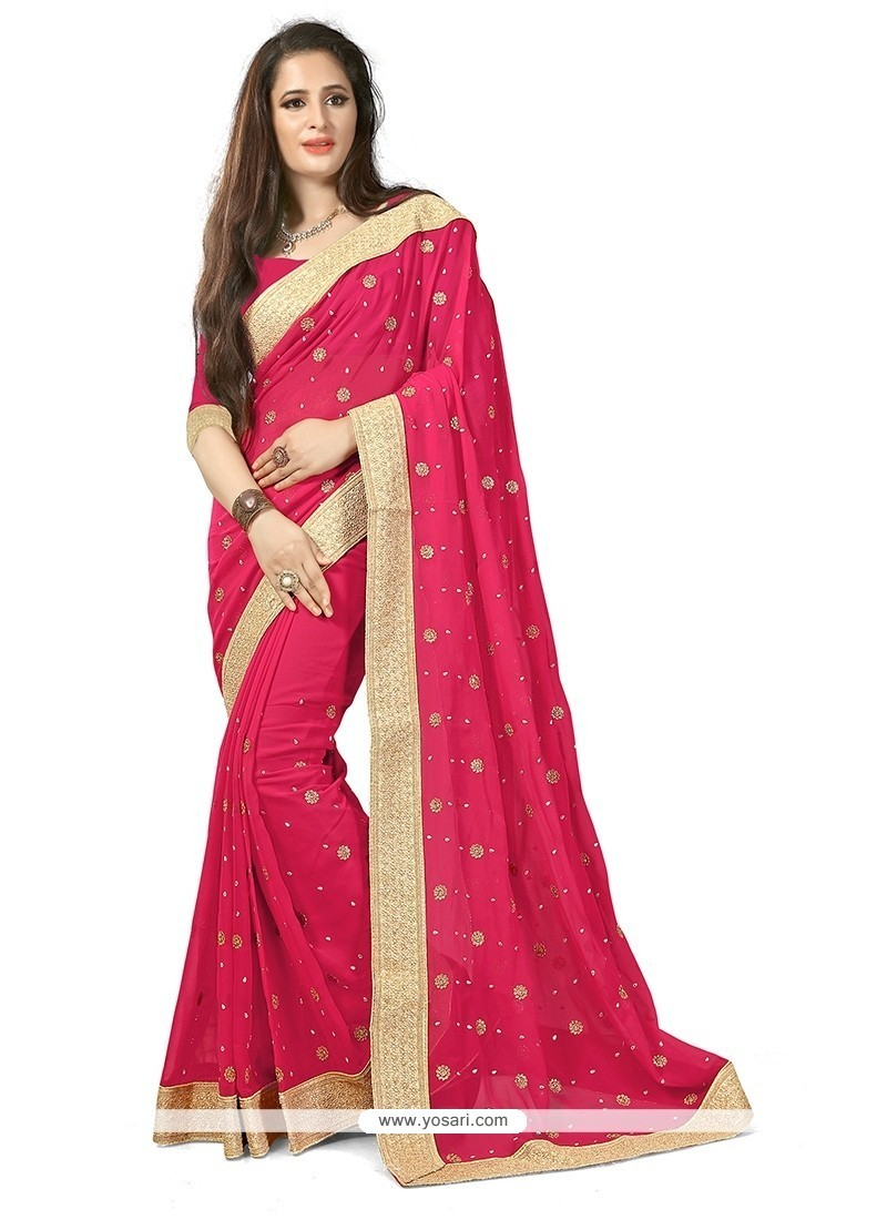 Fetching Pink Patch Border Work Classic Designer Saree