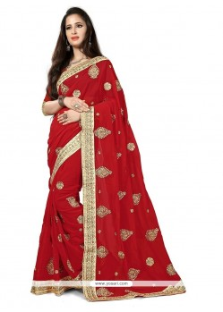 Especial Georgette Red Traditional Saree