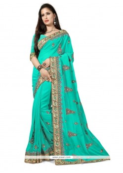 Trendy Turquoise Traditional Saree