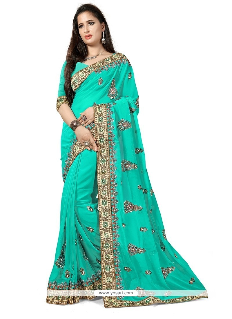 Trendy Turquoise Traditional Saree