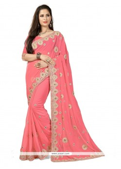 Enticing Pink Patch Border Work Designer Traditional Sarees