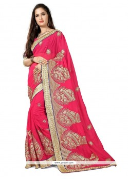 Rose Pink Patch Border Work Georgette Classic Designer Saree