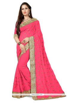 Lovely Patch Border Work Pink Classic Saree