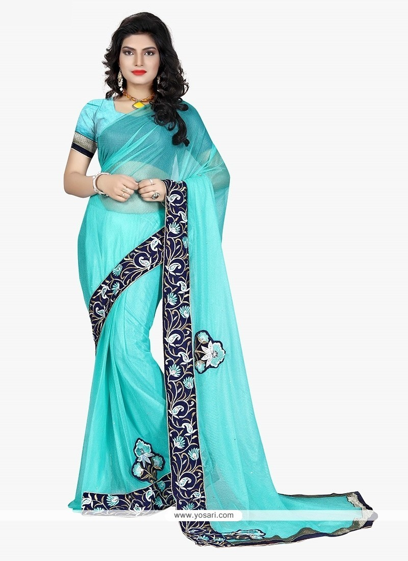 Titillating Lycra Embroidered Work Classic Saree