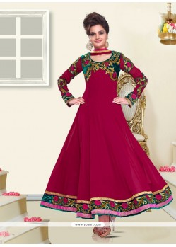 Monica Bedi Magenta Georgette Anarkali Suit