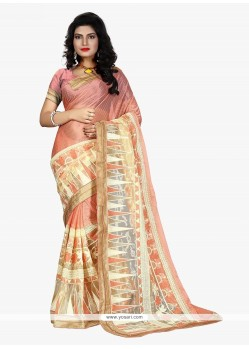 Enchanting Patch Border Work Rose Pink Fancy Fabric Trendy Saree