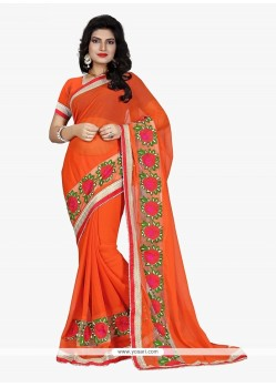Tempting Faux Chiffon Patch Border Work Classic Saree