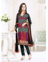 Black Embroidery Work Churidar Suit