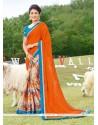 Lavish Multi Colour Print Work Georgette Printed Saree