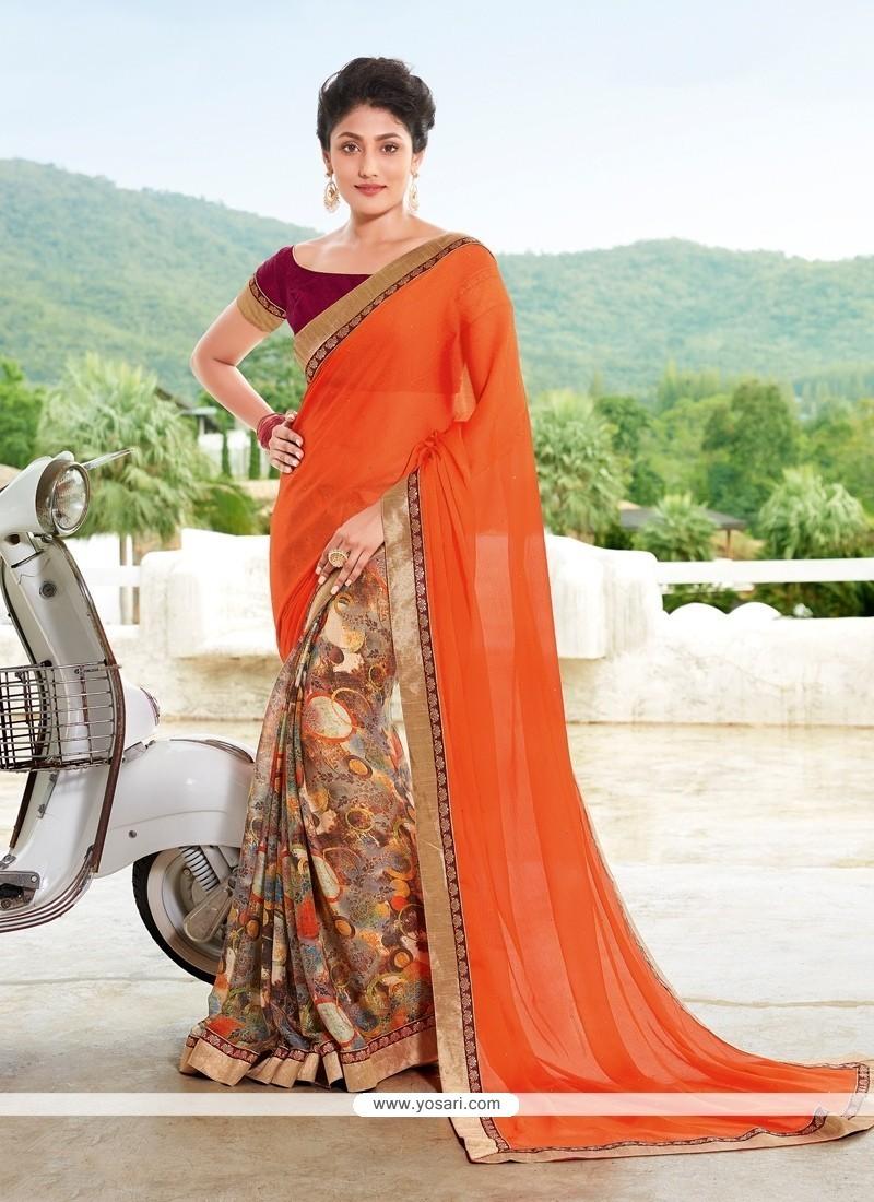 Sparkling Georgette Multi Colour Printed Saree