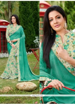 Gilded Sea Green Print Work Georgette Printed Saree
