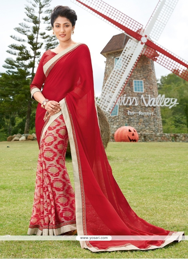397be75abc532c Buy Outstanding Georgette Multi Colour Print Work Printed Saree ...