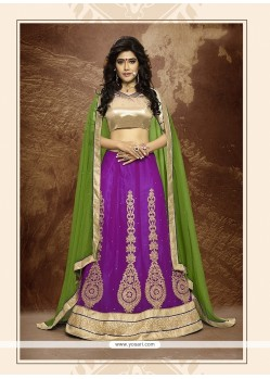 Flawless Faux Chiffon Purple A Line Lehenga Choli