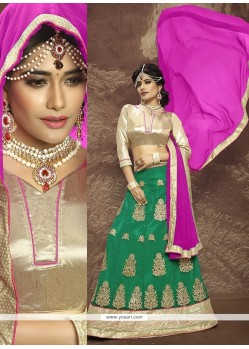 Distinctive Embroidered Work Faux Chiffon A Line Lehenga Choli